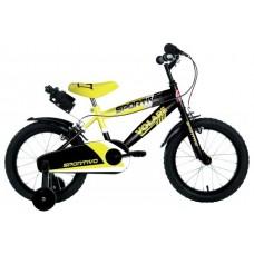 Volare Sportivo Kinderfiets - Jongens - 14 inch - Neon Geel Zwart - Twee Handremmen - 95% afgemonteerd - 2045